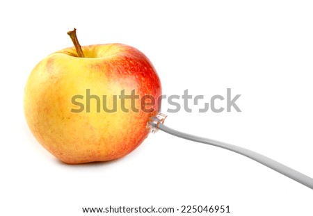 Apple connected to the phone cable