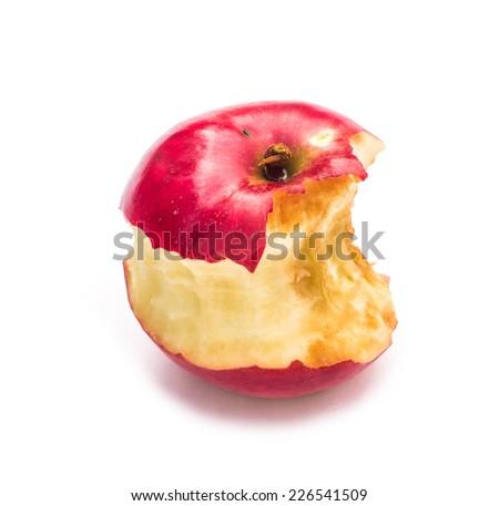 Apple core. Bitten apple isolated on white background. - stock photo