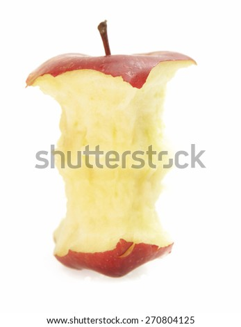 Apple core on white background - stock photo