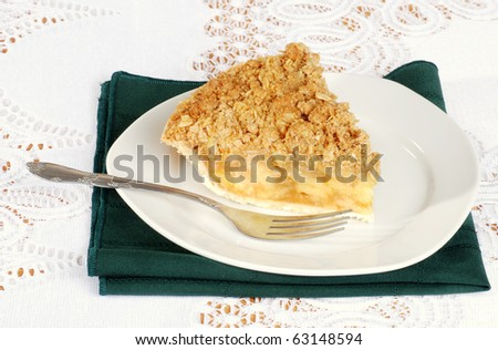 apple crisp with a fork - stock photo