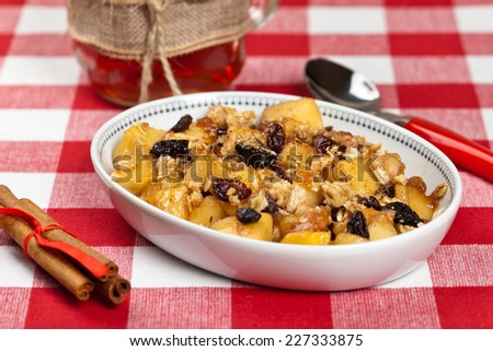 Apple Crumble Dessert. Selective focus. - stock photo