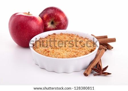 apple crumble on white - stock photo