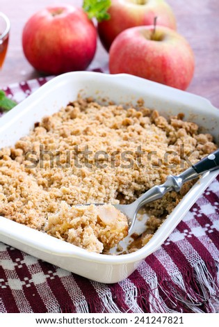 Apple crumble with wholemeal and oat topping - stock photo