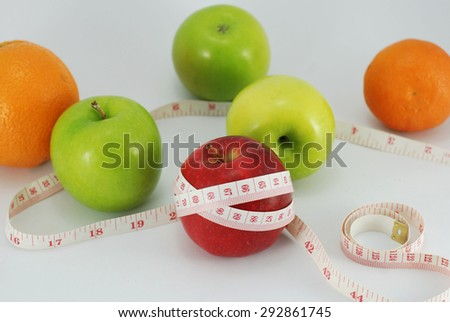 Apple, Diet concept on white background