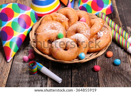 apple donut and carnival decoration - stock photo
