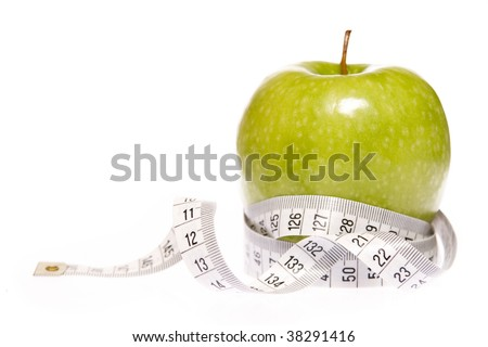 Apple entangled with measuring tape