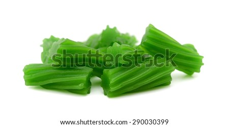 apple flavored licorice candies on white background  - stock photo