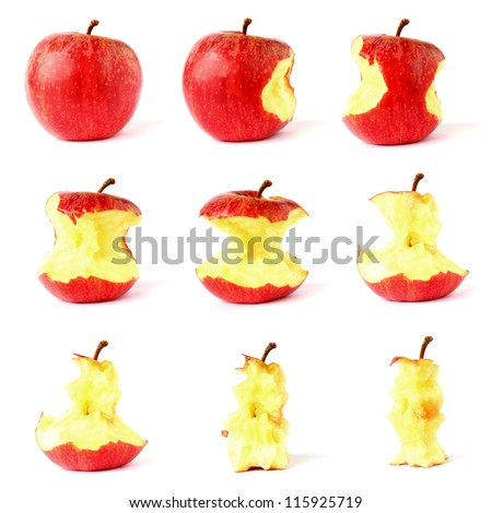Apple from whole to eaten frame set isolated on white background - stock photo