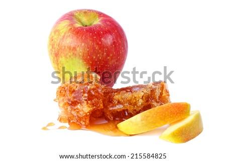 Apple fruit  and honey comb with honey isolated on white background - stock photo