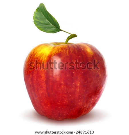 apple,green leaf - stock photo