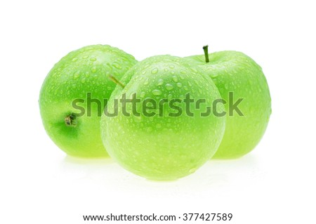 Apple green with water drops isolated on white background.