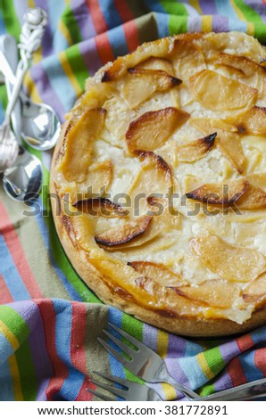 Apple homemade pie with a ruddy crust on the striped tablecloth - stock photo