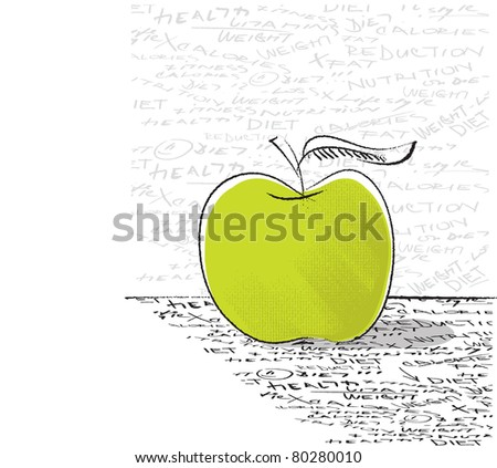 apple icon - diet concept (artistic freehand drawing with lettering)  (raster version) - stock photo