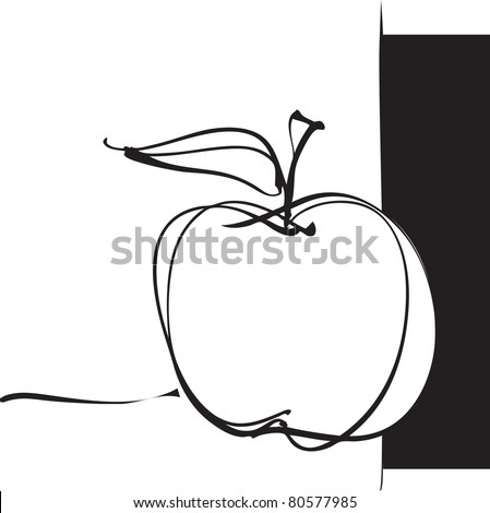 apple icon, freehand drawing (raster version) - stock photo