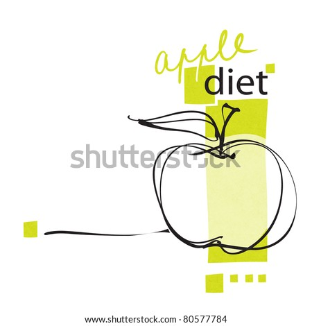 apple icon, layout, diet concept, freehand drawing (raster version) - stock photo