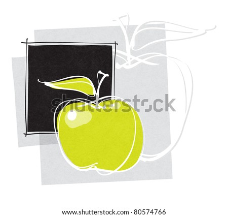 apple icon, page layout - raster version - stock photo