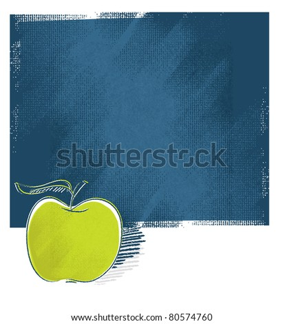 apple icon, upon attractive grunge background, freehand - raster version - stock photo