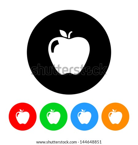 Apple Icon with Color Variations.  Raster version, vector also available. - stock photo