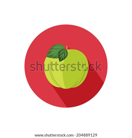Apple icon with shadow in flat design. Raster version - stock photo