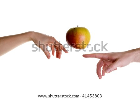 Apple illusion posed for michelangelo's creation mural - stock photo