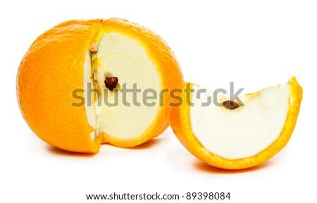 apple  in mandarine. Modification concept. - stock photo
