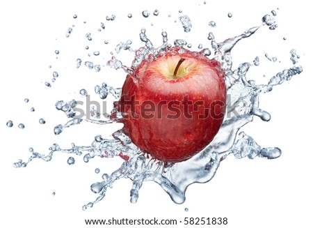 Apple in spray of water. Juicy apple with splash on white background - stock photo