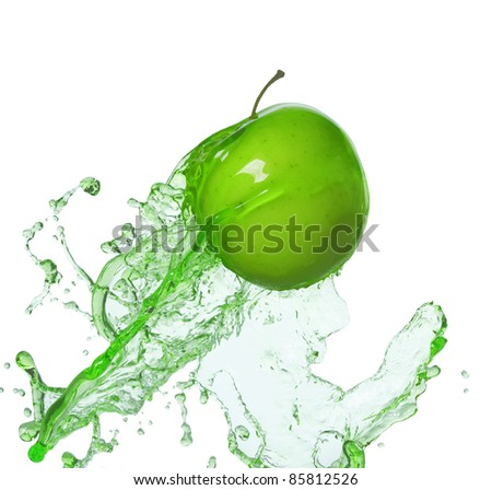 apple in stream - stock photo