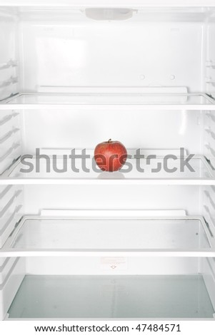 apple in the refrigerator - stock photo