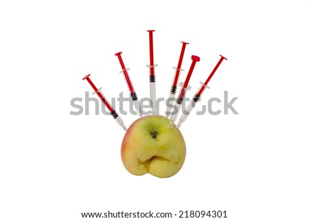 apple injections, cultivation GMO, scientific research, isolated on white background - stock photo