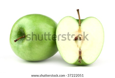 Apple Isolated, Apple on White Background. Ripe Apple, Fresh Fruit. Fresh Green Apple. Ripe and juicy green apple close up. Composition of apple. Vegetarian food, farm food, organic food, vegan.