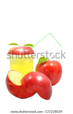 Apple juice and apple on a white background