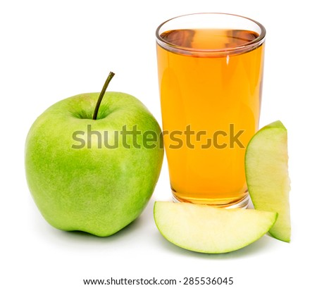 Apple juice and apple slices isolated on white background - stock photo