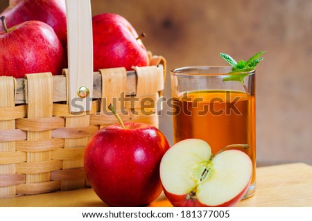 apple juice and apples - stock photo