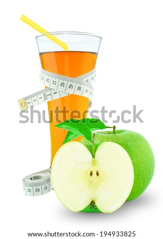 apple juice and meter on white background