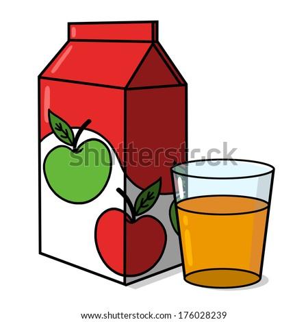 Apple Juice carton and a glass of apple juice illustration - stock photo