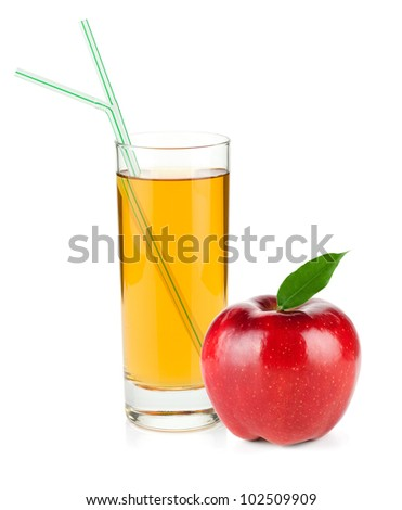 Apple juice in a glass and red apple. Isolated on white background - stock photo