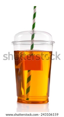 Apple juice in fast food closed cup with tube isolated on white - stock photo