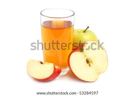 Apple juice in glass and fresh apples on white background - stock photo