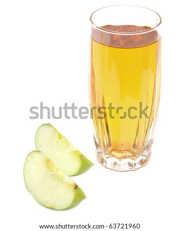 apple juice in glass and fresh apples on white background