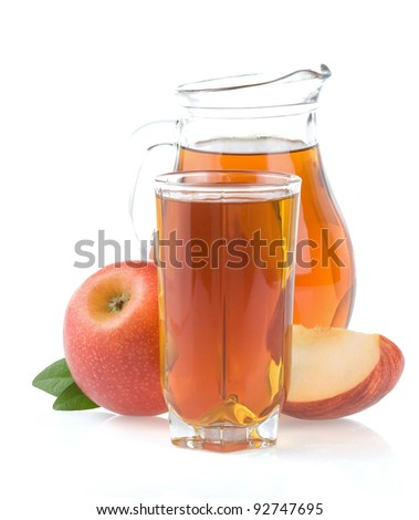 apple juice in glass and slices isolated on white background - stock photo