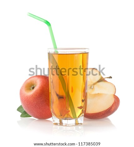 apple juice in glass isolated on white background - stock photo