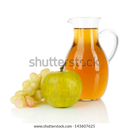 Apple juice in pitcher isolated on white - stock photo
