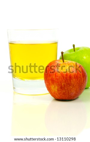 Apple juice isolated against a white background