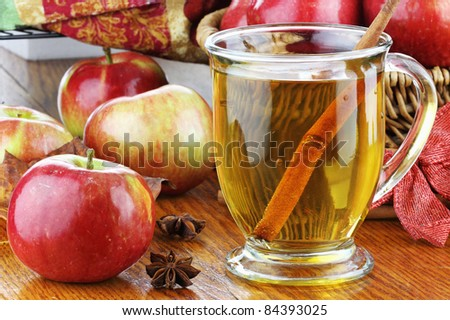 Apple Juice with cinnamon bark, anise stars and fresh apples. Shallow depth of field with selective focus on juice. Reflection can be seen in table. - stock photo