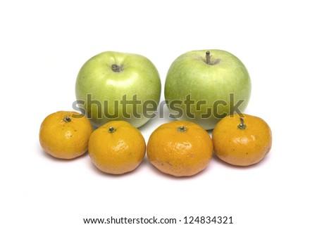 apple  mandarin - stock photo
