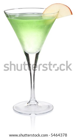 Apple Martini Cocktail - isolated on white - stock photo