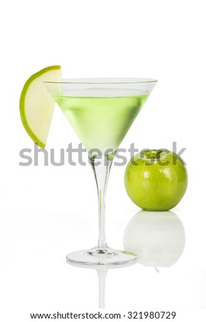 Apple Martini. Very cold martini cocktail made with green apple  - stock photo