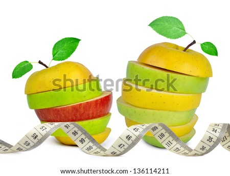 Apple mix with measuring tape isolated on white