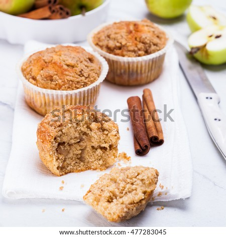 Apple muffins with cinnamon. Square photo.