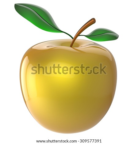 Apple nutrition fruit yellow golden antioxidant fresh ripe exotic food agriculture organic healthy attractive icon. 3d render isolated on white background - stock photo